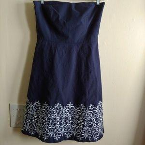 LOFT Strapless Dress in Navy Blue